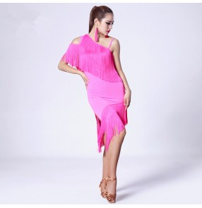 Women's latin dance dresses female tassels fringes competition one shoulder chacha dance skirts dress